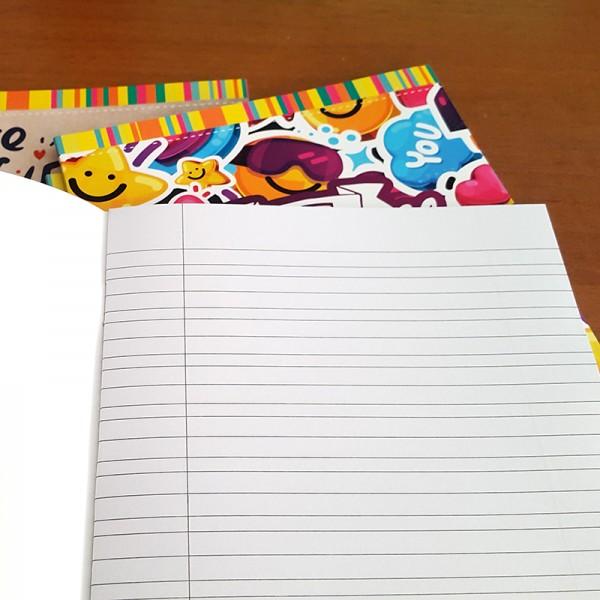 Тетрадка с тесни и широки редове малък формат А5 20 листа офсетова хартия