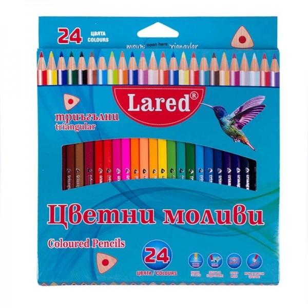 Цветни моливи триъгълни Lared 24 цвята