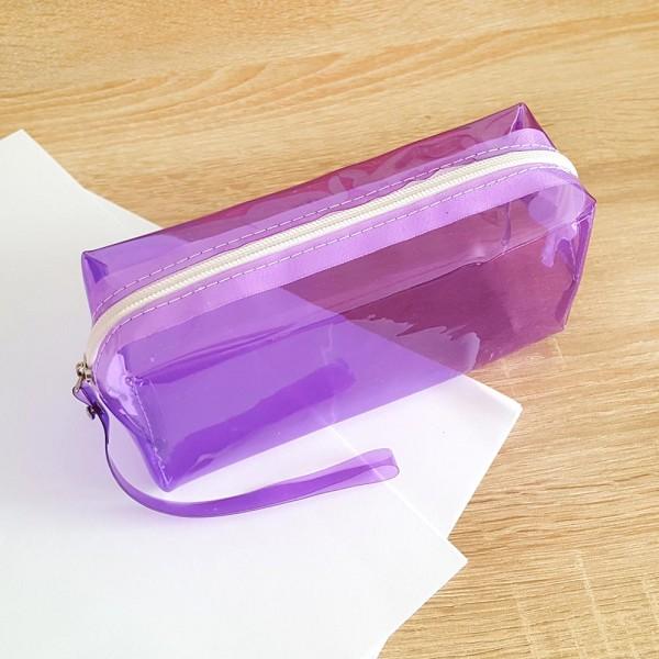Прозрачен ученически несесер за моливи неонови цветове