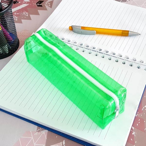 Прозрачен ученически несесер за моливи неонови цветове малък