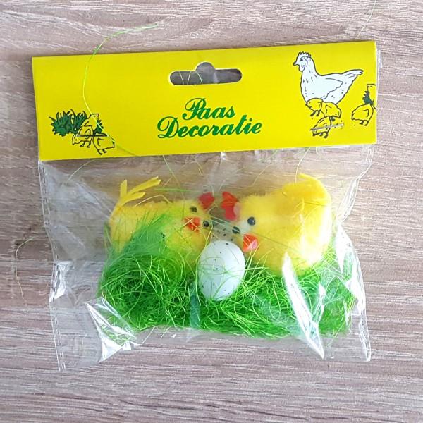Мини великденска украса кокошки с яйца в гнездо Декорация за Великден