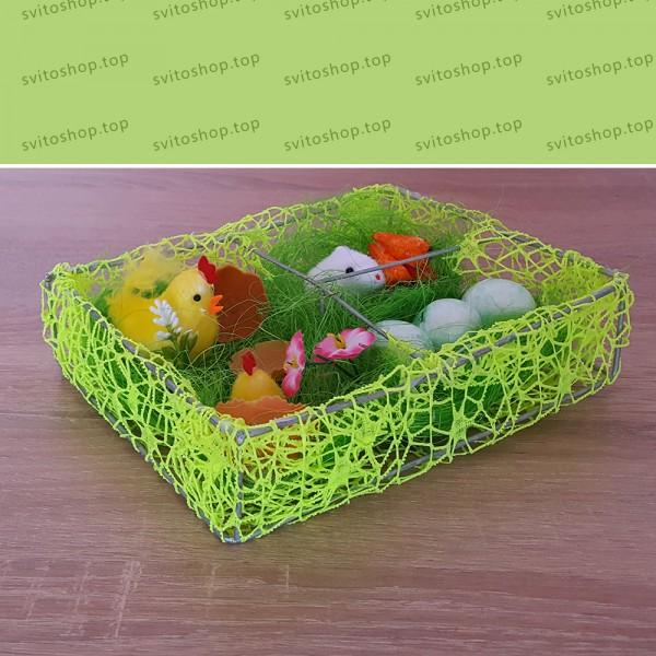 Декорация за Великден мини градинка с пиленца яйца и зайче 19x15x5см