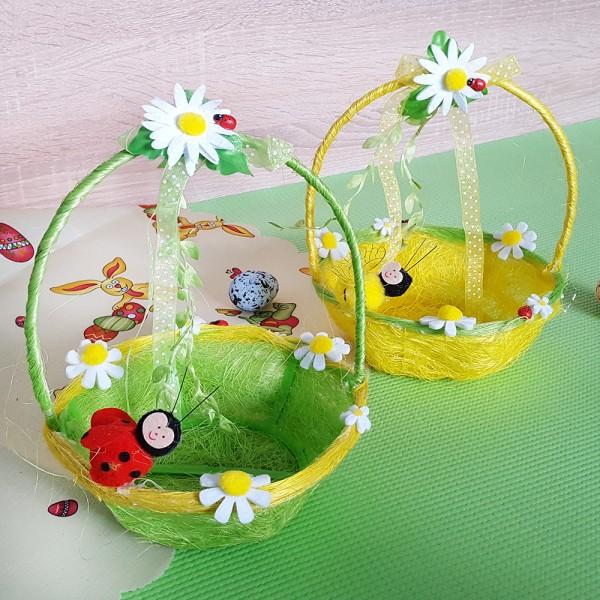 Кошница за великденски яйца с декорация пчеличка или калинка