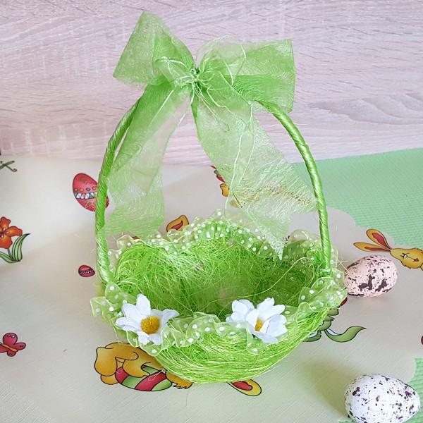 Малка великденска кошничка с дръжка и панделка
