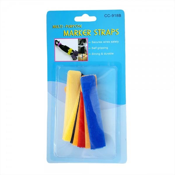 Комплект от 6 броя велкро ленти за кабели многоцветни 18.5см