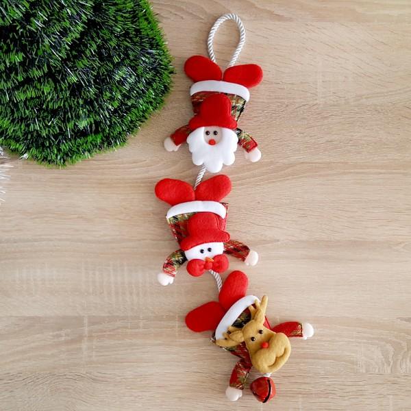 Висяща коледна украса Дядо Коледа Снежко и еленче със звънче 50см