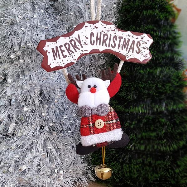 Коледна висяща фигура с табелка Merry Christmas и звънче