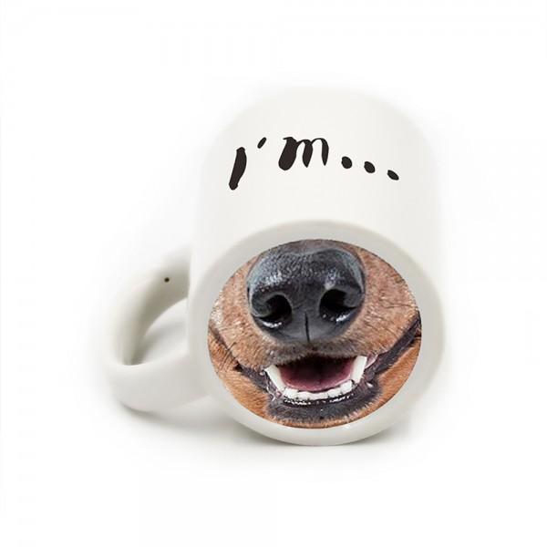 Забавна чаша с надпис I'm...Dog и картинка муцуна Оригинална подаръчна заша за чай кафе
