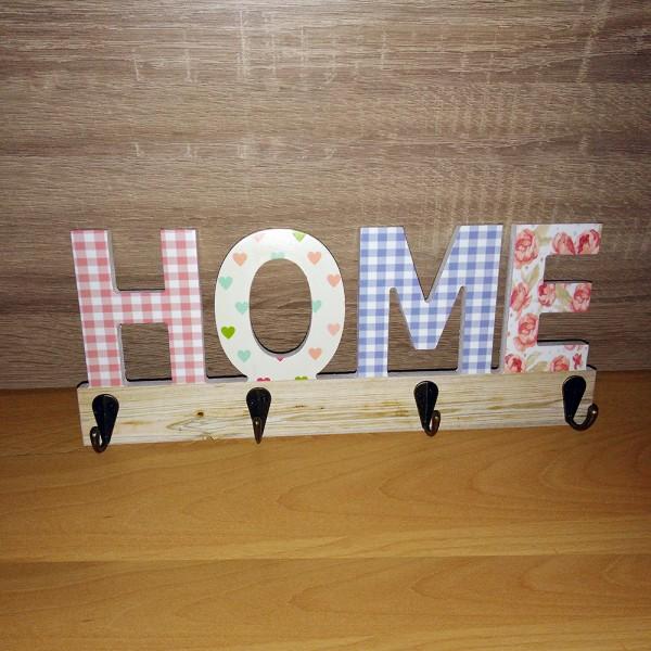 Дървена закачалка за стена HOME органайзер за ключове и аксесоари
