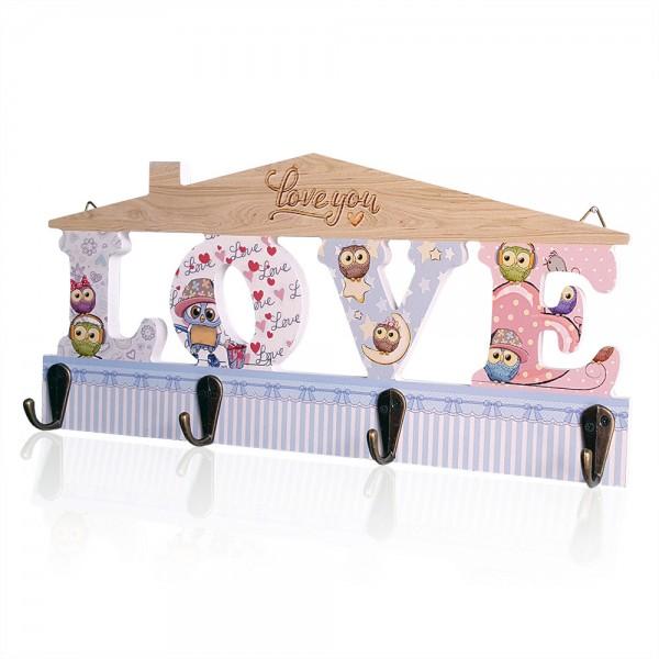 Декоративна дървена закачалка къщичка LOVE закачалка за ключове дрехи