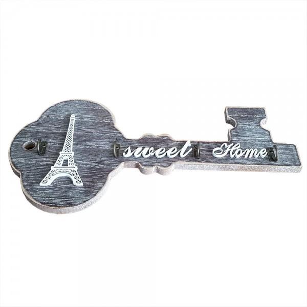 Декоративна закачалка за ключове с надпис Sweet Home и 3D Айфелова кула