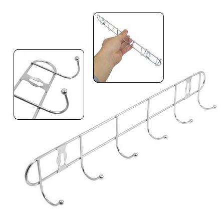 Метална закачалка за стена инокс 6 куки за закачане 33см дължина