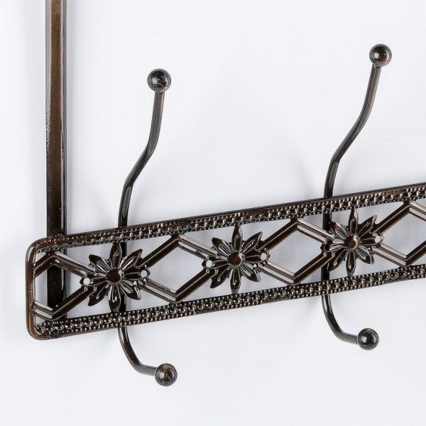 Метална закачалка за врата с 8 куки за закачане Цветя и ромбове