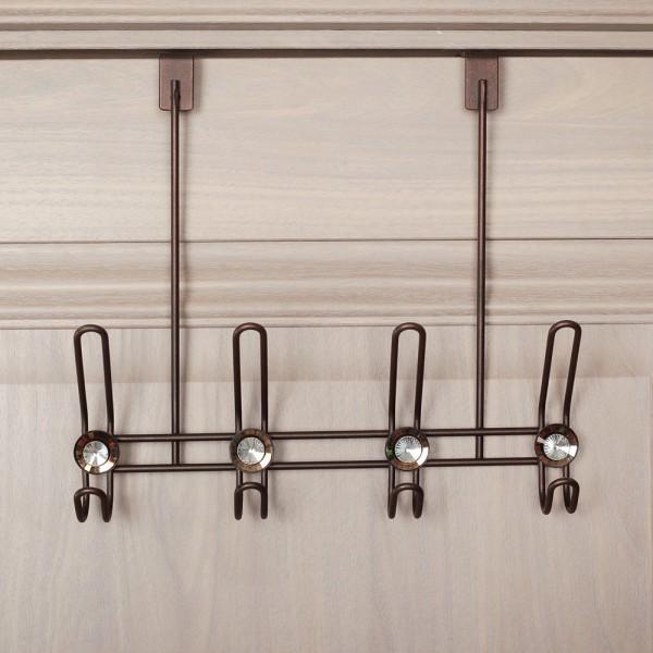 Метална закачалка за врата с 4 куки декорирана с камъчета