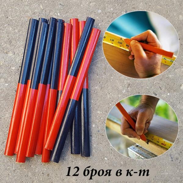 Комплект овални дърводелски моливи ДУО 12 броя