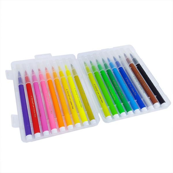 Флумастери за рисуване с връх тип четка 18 цвята в кутия