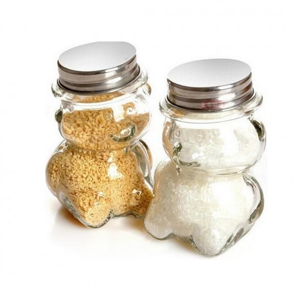 Малко стъклено бурканче за мед или подправки Мече 170ml
