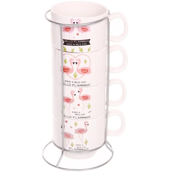 Комплект керамични чашки за кафе на метална стойка Фламинго