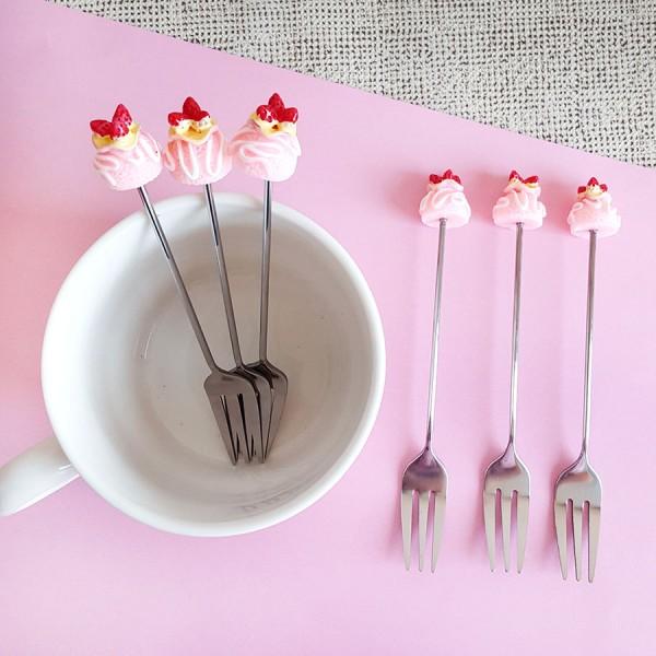 Парти десертни вилички с декорация поничка кексче, 6 броя в комплект