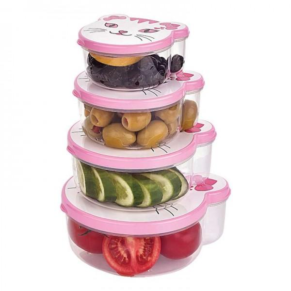 Комплект детски кутии за храна Сладки животни 4 броя