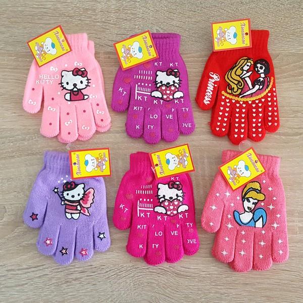 Детски зимни ръкавици за момиче машинно плетиво 3-4 години