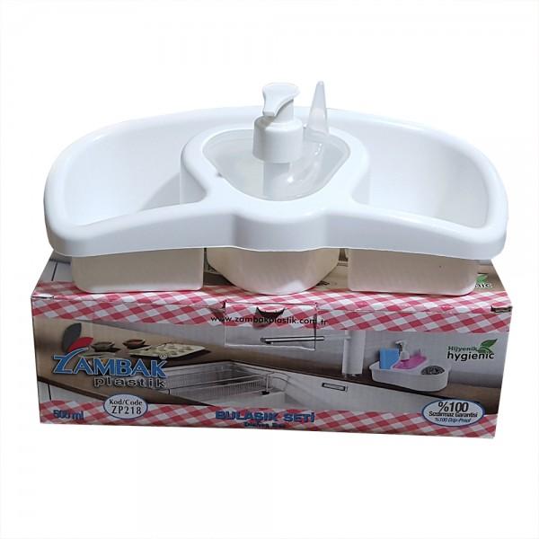 Поставка за гъби с дозатор за веро течен сапун кухненски органайзер за мивка