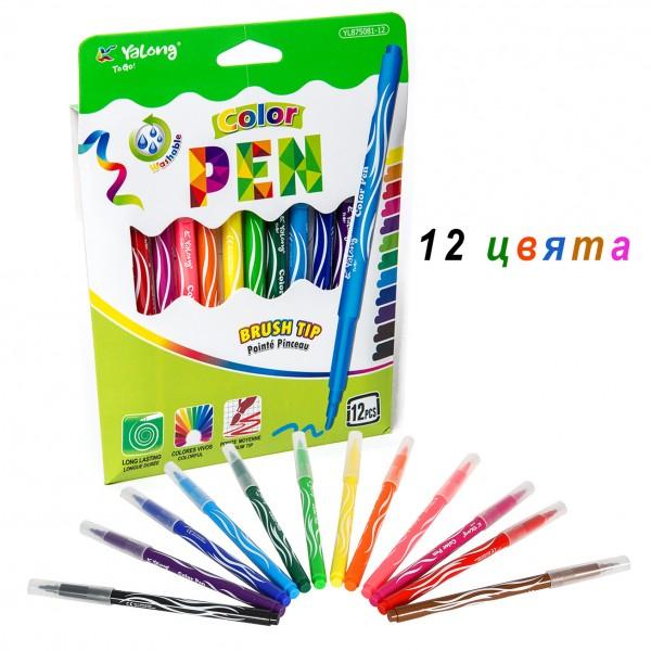 Лесно измиващи се цветни флумастери 12 цвята в комплект