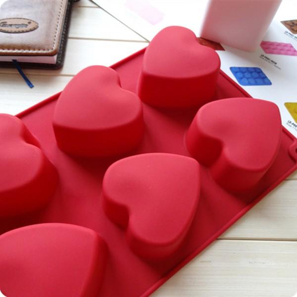 Силиконова форма за печене сърца, 6 гнезда