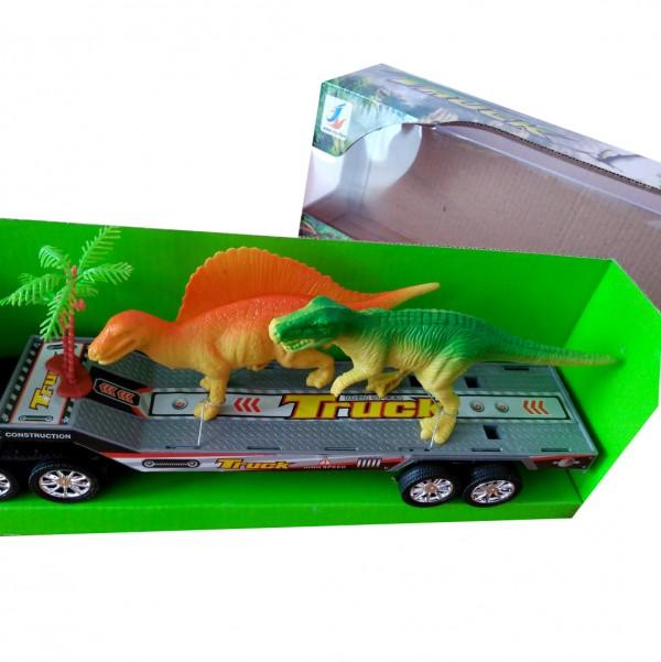 Детска играчка камион платформа с два динозавъра 43см
