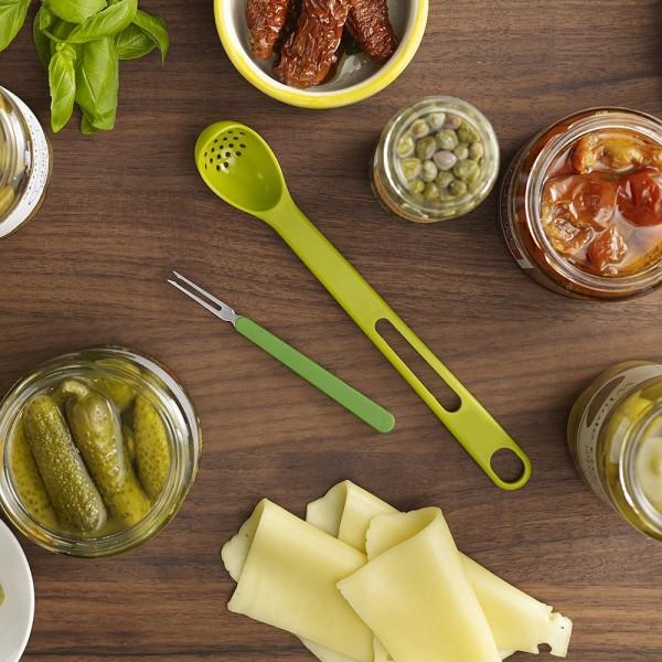 Комплект решетъчна лъжица и вилица за маслини прибори за сервиране