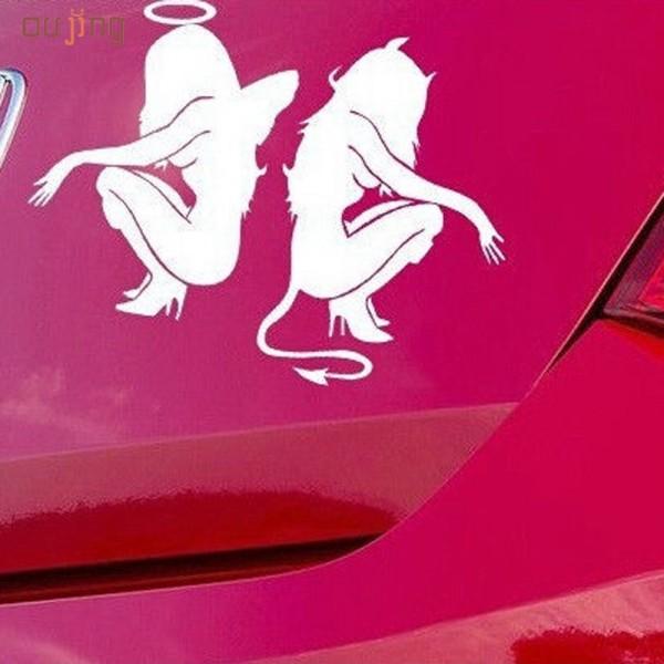 Секси стикер за кола автомобил Ангел и Дявол - Вариант 2