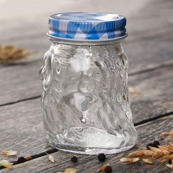 Малко стъклено бурканче за мед или подправки Бухалче 100мл