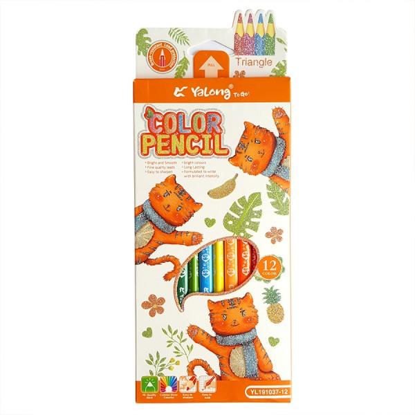 Триъгълни цветни моливи за рисуване 12 цвята