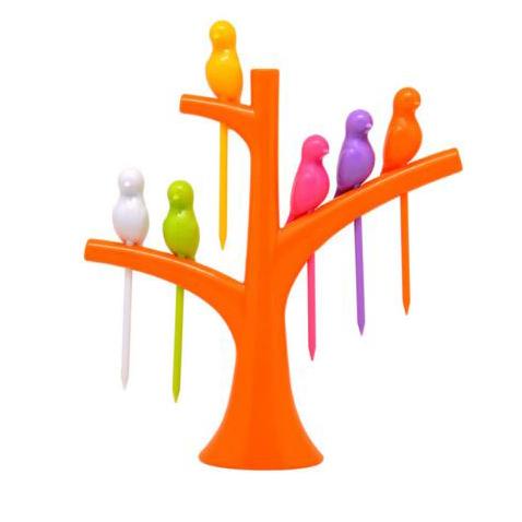 Парти вилички за хапки и плодове Птички на дърво комплект от 6 броя и поставка