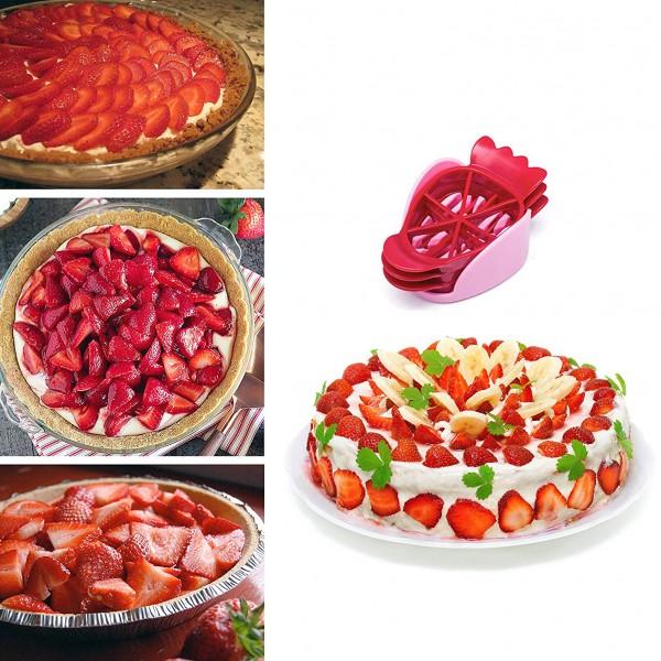 Уред за рязане на ягоди с 3 приставки резачка за ягоди киви яйцерезачка