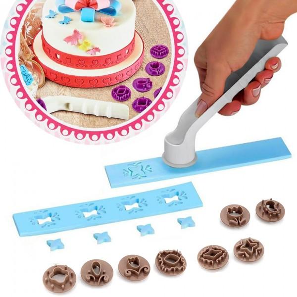 Комплект сладкарски резец за фондан захарно тесто с накрайници печати