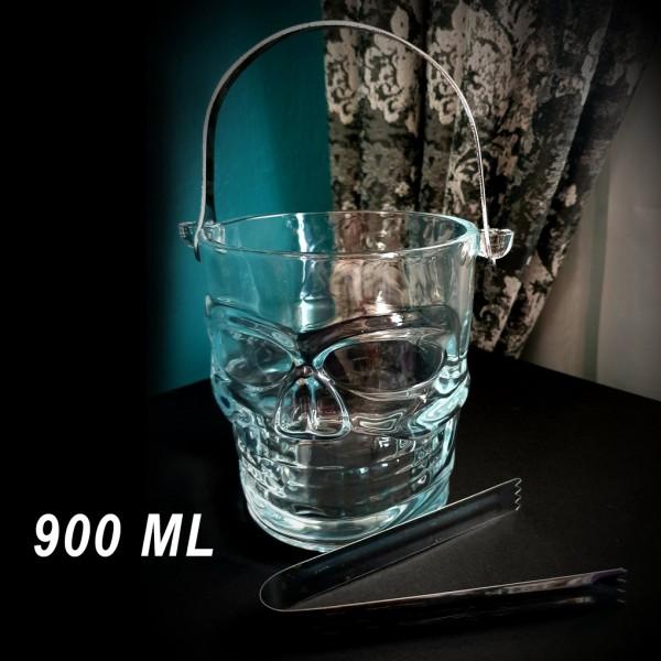 Стъклена купа за лед с щипка ледарка ЧЕРЕП 900ml