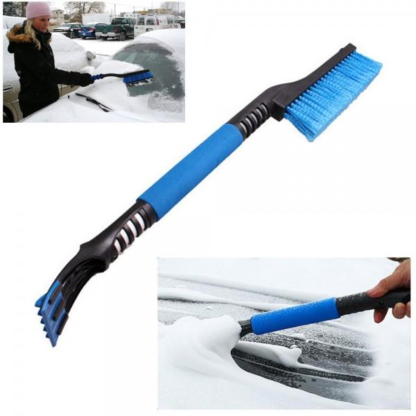 2в1 стъргалка за лед и четка за сняг с дълга и мека дръжка 60см