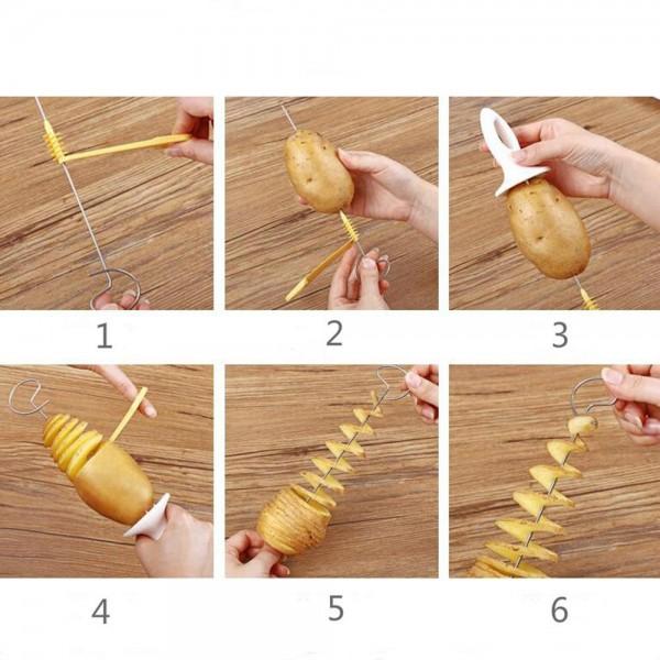 Уред за картофени спирали резачка за картофи на спирали