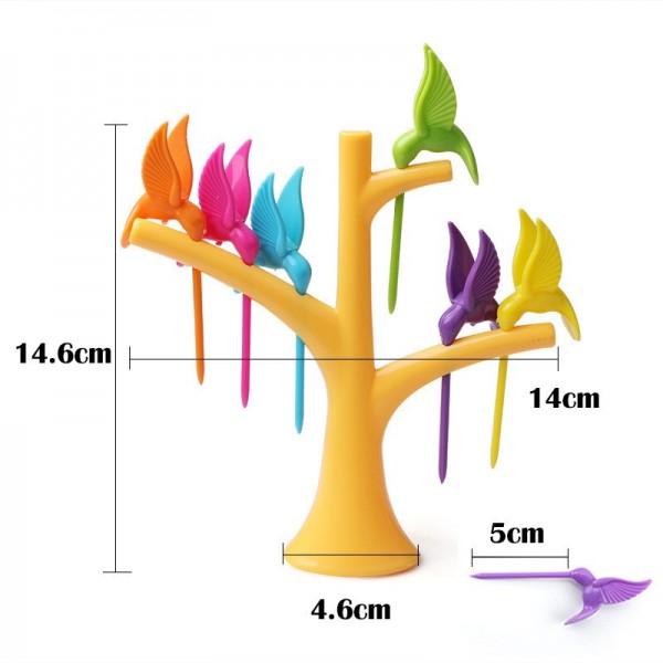 Парти вилички за хапки и плодове Колибри комплект от 6 броя птички и поставка