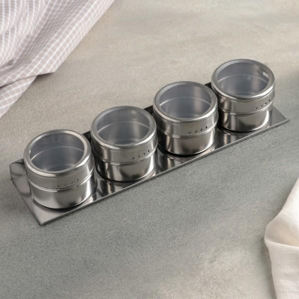 Комплект метални бурканчета за подправки с магнит на поставка 4 броя