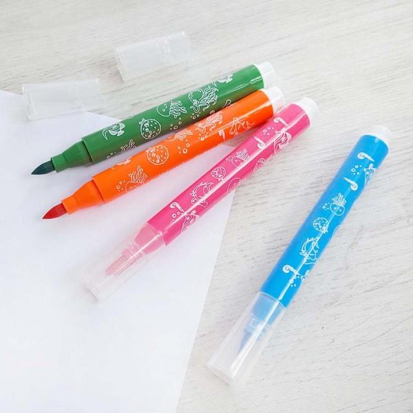 Флумастери за рисуване с връх тип четка 12 цвята в кутия
