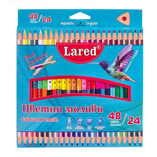 Цветни моливи за рисуване ДУО 24/48 цвята Lared