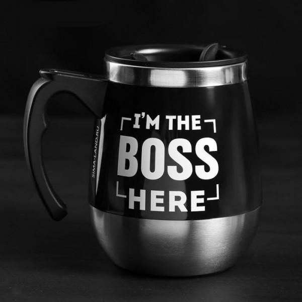 Термо чаша с дръжка и капаче I'm the BOSS here