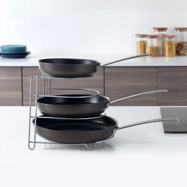 Метална стойка за тигани и тави органайзер за кухненски шкаф 4 нива