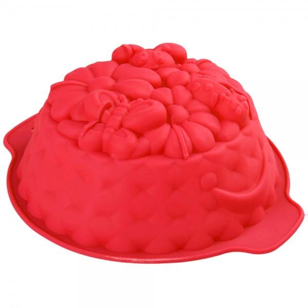 Силиконова форма за кекс Цветна полянка форма за печене 22см диаметър