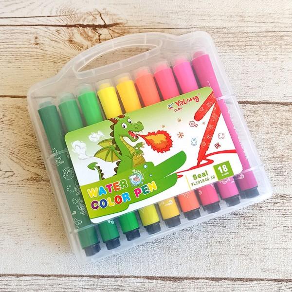 Флумастери за рисуване и оцветяване с печати, 18 цвята в кутия