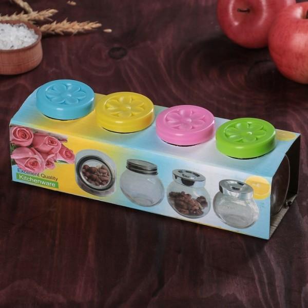 Комплект стъклени бурканчета за подправки с цветни капачета, 4 броя