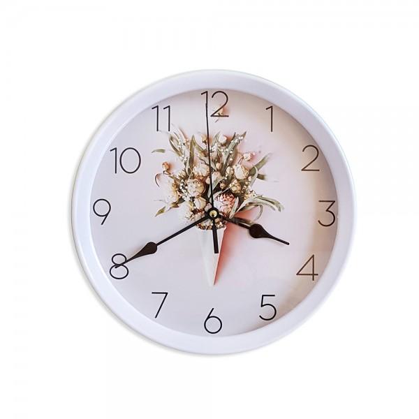 Модерен кръгъл часовник с принт букет от цветя, 22.5см диаметър