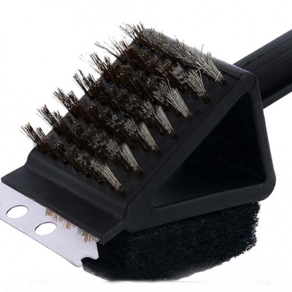 Телена четка за скара с гъба и шпатула грил четка за почистване с дълга дръжка